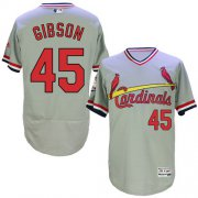 Wholesale Cheap Cardinals #45 Bob Gibson Grey Flexbase Authentic Collection Cooperstown Stitched MLB Jersey