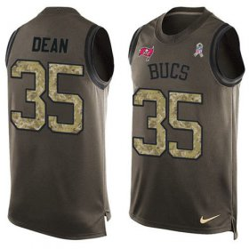 Wholesale Cheap Nike Buccaneers #35 Jamel Dean Green Men\'s Stitched NFL Limited Salute To Service Tank Top Jersey