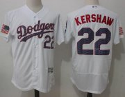 Wholesale Cheap Dodgers #22 Clayton Kershaw White Fashion Stars & Stripes Flexbase Authentic Stitched MLB Jersey