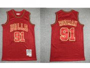 Wholesale Cheap Men's Chicago Bulls #91 Dennis Rodman Red 1997-98 Hardwood Classics Soul Swingman Throwback Jersey