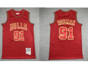 Wholesale Cheap Men\'s Chicago Bulls #91 Dennis Rodman Red 1997-98 Hardwood Classics Soul Swingman Throwback Jersey