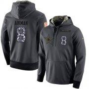 Wholesale Cheap NFL Men's Nike Dallas Cowboys #8 Troy Aikman Stitched Black Anthracite Salute to Service Player Performance Hoodie
