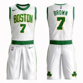 Wholesale Cheap Boston Celtics #7 Jaylen Brown White Nike NBA Men\'s City Authentic Edition Suit Jersey