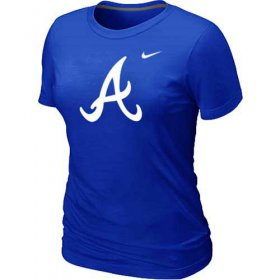 Wholesale Cheap Women\'s Atlanta Braves Heathered Nike Blue Blended T-Shirt