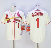 Wholesale Cheap Cardinals #1 Ozzie Smith Cream Cool Base Stitched MLB Jersey