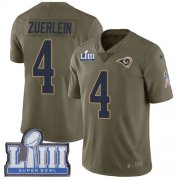 Wholesale Cheap Nike Rams #4 Greg Zuerlein Olive Super Bowl LIII Bound Youth Stitched NFL Limited 2017 Salute to Service Jersey
