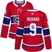 Wholesale Cheap Adidas Canadiens #9 Maurice Richard Red Home Authentic Women's Stitched NHL Jersey
