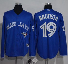 Wholesale Cheap Blue Jays #19 Jose Bautista Blue New Cool Base Long Sleeve Stitched MLB Jersey