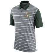 Wholesale Cheap Men's Oakland Athletics Nike Gray Dri-FIT Stripe Polo