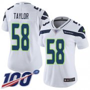 Wholesale Cheap Nike Seahawks #58 Darrell Taylor White Women's Stitched NFL 100th Season Vapor Untouchable Limited Jersey