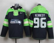 Wholesale Cheap Nike Seahawks #96 Cortez Kennedy Steel Blue Player Pullover NFL Hoodie