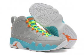 Wholesale Cheap Womens Air Jordan 9 Retro Shoes Gray/University Blue-orange