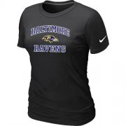 Wholesale Cheap Women's Nike Baltimore Ravens Heart & Soul NFL T-Shirt Black