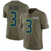 Wholesale Cheap Nike Seahawks #3 Russell Wilson Olive Youth Stitched NFL Limited 2017 Salute to Service Jersey