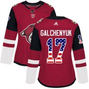 Wholesale Cheap Adidas Coyotes #17 Alex Galchenyuk Maroon Home Authentic USA Flag Women's Stitched NHL Jersey