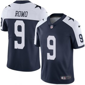Wholesale Cheap Nike Cowboys #9 Tony Romo Navy Blue Thanksgiving Men\'s Stitched NFL Vapor Untouchable Limited Throwback Jersey