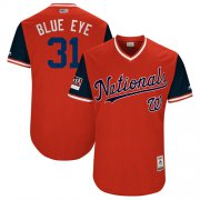 "Wholesale Cheap Nationals #31 Max Scherzer Red ""Blue Eye"" Players Weekend Authentic Stitched MLB Jersey"