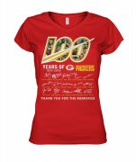 Wholesale Cheap Green Bay Packers 100 Seasons Memories Women's T-Shirt Red
