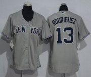 Wholesale Cheap Yankees #13 Alex Rodriguez Grey Women's Road Stitched MLB Jersey