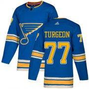 Wholesale Cheap Adidas Blues #77 Pierre Turgeon Light Blue Alternate Authentic Stitched NHL Jersey