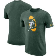 Wholesale Cheap Green Bay Packers Nike Marled Historic Logo Performance T-Shirt Heathered Green