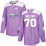 Wholesale Cheap Adidas Capitals #70 Braden Holtby Purple Authentic Fights Cancer Stitched Youth NHL Jersey