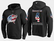 Wholesale Cheap Blue Jackets #4 Scott Harrington NHL Banner Wave Usa Flag Black Hoodie