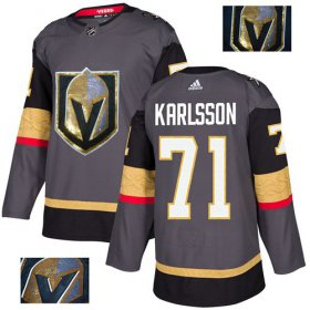 Wholesale Cheap Adidas Golden Knights #71 William Karlsson Grey Home Authentic Fashion Gold Stitched NHL Jersey