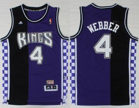 Wholesale Cheap Sacramento Kings #4 Chris Webber Hardwood Classic Purple Swingman Throwback Jersey