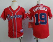 Wholesale Cheap Braves #19 Andrelton Simmons Red Cool Base Stitched Youth MLB Jersey