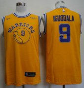 Wholesale Cheap Warriors 9 Andre Iguodala Yellow Throwback Nike Swingman Jersey