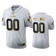 Wholesale Cheap New Orleans Saints Custom Men's Nike White Golden Edition Vapor Limited NFL 100 Jersey