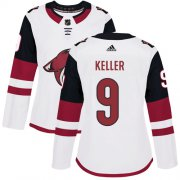 Wholesale Cheap Adidas Coyotes #9 Clayton Keller White Road Authentic Women's Stitched NHL Jersey