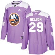 Wholesale Cheap Adidas Islanders #29 Brock Nelson Purple Authentic Fights Cancer Stitched Youth NHL Jersey