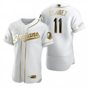 Wholesale Cheap Cleveland Indians #11 Jose Ramirez White Nike Men's Authentic Golden Edition MLB Jersey