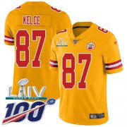 Wholesale Cheap Nike Chiefs #87 Travis Kelce Gold Super Bowl LIV 2020 Youth Stitched NFL Limited Inverted Legend 100th Season Jersey
