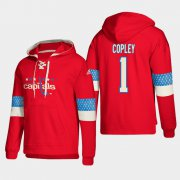 Wholesale Cheap Washington Capitals #1 Pheonix Copley Red adidas Lace-Up Pullover Hoodie