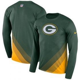 Wholesale Cheap Men\'s Green Bay Packers Nike Green Sideline Legend Prism Performance Long Sleeve T-Shirt
