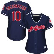 Wholesale Cheap Indians #10 Edwin Encarnacion Navy Blue Alternate Women's Stitched MLB Jersey