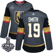 Wholesale Cheap Adidas Golden Knights #19 Reilly Smith Grey Home Authentic 2018 Stanley Cup Final Women's Stitched NHL Jersey