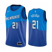 Wholesale Cheap Nike Bucks #21 Jrue Holiday Blue NBA Swingman 2020-21 City Edition Jersey