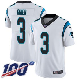 Wholesale Cheap Nike Panthers #3 Will Grier White Youth Stitched NFL 100th Season Vapor Untouchable Limited Jersey