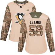 Wholesale Cheap Adidas Penguins #58 Kris Letang Camo Authentic 2017 Veterans Day Women's Stitched NHL Jersey