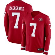 Wholesale Cheap Nike 49ers #7 Colin Kaepernick Red Team Color Men's Stitched NFL Limited Therma Long Sleeve Jersey
