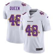 Wholesale Cheap Baltimore Ravens #48 Patrick Queen White Men's Nike Team Logo Dual Overlap Limited NFL Jersey