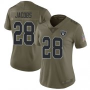 Wholesale Cheap Nike Raiders #28 Josh Jacobs Olive Women's Stitched NFL Limited 2017 Salute to Service Jersey