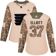 Wholesale Cheap Adidas Flyers #37 Brian Elliott Camo Authentic 2017 Veterans Day Women's Stitched NHL Jersey