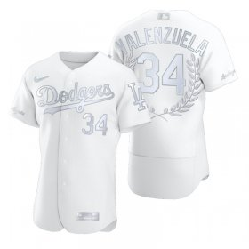 Wholesale Cheap Los Angeles Dodgers #34 Fernando Valenzuela Men\'s Nike Platinum MLB MVP Limited Player Edition Jersey
