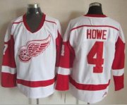 Wholesale Red Wings #4 Gordie Howe White CCM Throwback Stitched NHL Jersey