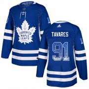 Wholesale Cheap Adidas Maple Leafs #91 John Tavares Blue Home Authentic Drift Fashion Stitched NHL Jersey